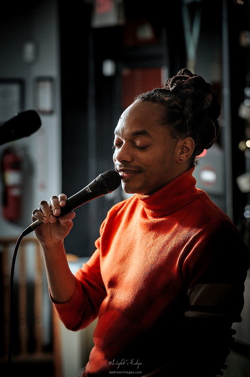 As the opener for Swing That Cat during the first music event at Human Village Brewing Co., V. Shayne Frederick lends his sweet vocals on some jazz numbers.