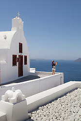 Europe, Mediterranean, Greece, Santorini, Oia and Aegean Sea