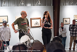Custom builder and S&S social media specialist Savannah Rose talks about her Sportster on display in the Old Iron - Young Blood exhibition during the media and industry reception in the Motorcycles as Art gallery at the Buffalo Chip during the annual Sturgis Black Hills Motorcycle Rally. Sturgis, SD. USA. Sunday August 6, 2017. Photography ©2017 Michael Lichter.