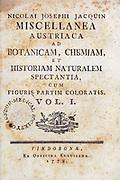 Title page of Miscellanea austriaca ad botanicam, chemiam, et historiam naturalem spectantia, cum figuris partim coloratis. Vol. I  by Nicolai Josephi Jacquin Published 1778.