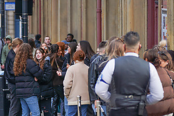 © Licensed to London News Pictures. 30/04/2021. Leeds ,UK. Revellers queuing up to enter a bar in Leeds. Photo credit: Ioannis Alexopoulos/LNP
