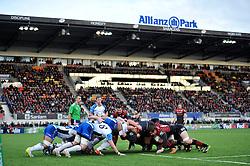 A scrum forms - Photo mandatory by-line: Patrick Khachfe/JMP - Tel: Mobile: 07966 386802 18/01/2014 - SPORT - RUGBY UNION - Allianz Park, London - Saracens v Connacht Rugby - Heineken Cup.