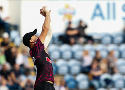 Max Waller of Somerset catches Jeremy Lawlor of Glamorgan of the bowling of Roelof van der Merwe <br /> <br /> Photographer Simon King/Replay Images<br /> <br /> Vitality Blast T20 - Round 1 - Glamorgan v Somerset - Thursday 18th July 2019 - Sophia Gardens - Cardiff<br /> <br /> World Copyright © Replay Images . All rights reserved. info@replayimages.co.uk - http://replayimages.co.uk