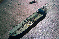 Aerial view of an oil tanker in the Port of Houston.