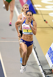 Great Britain's Katarina Johnson-Thompson finishes first in the Pentathlon Women 800m and wins gold in the overall Pentathlon event during day one of the European Indoor Athletics Championships at the Emirates Arena, Glasgow.