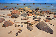 Rocky shoreline and sand along the North Shore of the Gulf of St. Lawrence<br />