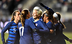 February 27, 2019 - Chester, PA, U.S. - CHESTER, PA - FEBRUARY 27: US Midfielder Megan Rapinoe (15) celebrates after her goal with teammates in the first half during the She Believes Cup game between Japan and the United States on February 27, 2019 at Talen Energy Stadium in Chester, PA. (Photo by Kyle Ross/Icon Sportswire) (Credit Image: © Kyle Ross/Icon SMI via ZUMA Press)