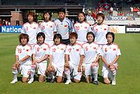 Amsterdam The Netherlands 13 July 2009: Woman's Four Nations Cup China vs Switzerland. The Chinese win 2-0. The China National Team. 3-Fan Yuan, 21-Ling Sun, 1-Yanru Zhang, 20-Min Wu, 7-Yan Bi, 23- Yan Lu, 8-Yuan Xu, 19-Yan Gao, 17-Fengyue Pang, 5-Xinzhi Weng, 6- Na Zhang.13/07/2009 Credit Colorsport / Richard Wareham