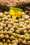 Fowers for Jasmine tea and Turkish lira prices in Misir Carsisi Egyptian Bazaar food market, Istanbul, Turkey