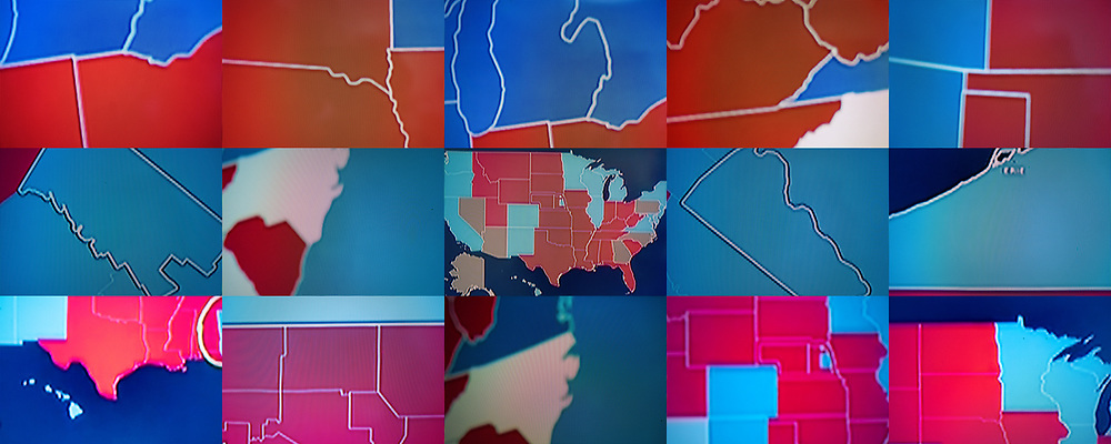 BELGIUM, Brussels. 6/11/2020: Composite image from the presidential elections in the USA as seen on television.