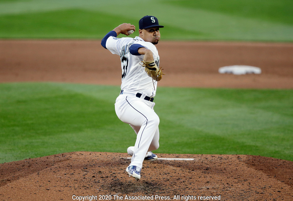 Seattle Mariners starting pitcher Justus Sheffield works against the Texas Rangers during a baseball game, Saturday, Aug. 22, 2020, in Seattle. (AP Photo/John Froschauer)