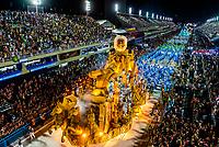 Floats in the Carnaval parade of Paraiso do Tuiuti samba school in the Sambadrome, Rio de Janeiro, Brazil.