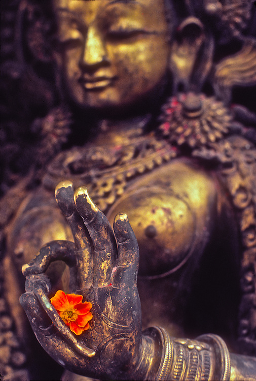 At the Swyambhu temple overlooking Nepal's rich and fertile Kathmandu Valley is a bronze of Tara, a Buddhist fertility goddess personifying the female energy of the universe.