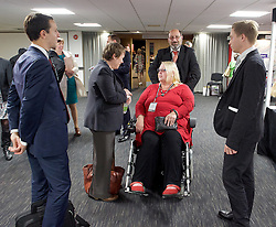 Labour Conference, Brighton, Great Britain <br /> 28th September 2015 <br /> <br /> Councillor Candy Atherton <br /> from Truro & Falmouth <br /> who earlier got stuck on stage in her wheelchair <br /> with Maria Eagle MP <br /> <br /> Photograph by Elliott Franks <br /> Image licensed to Elliott Franks Photography Services
