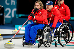 March 9, 2018 - Pyeongchang, SOUTH KOREA - SISSEL LOECHEN and JOSTEIN STORDAHL of Norway during the wheelchair curling practice ahead of the 2018 Winter Paralympics in Pyeongchang. (Credit Image: © Vegard Wivestad Grott/Bildbyran via ZUMA Press)