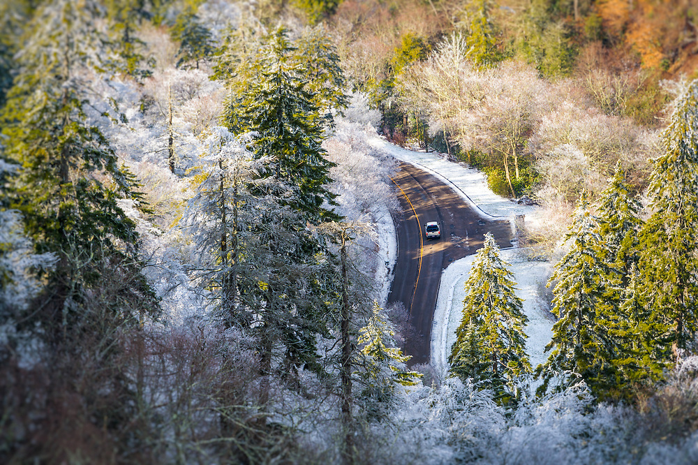 Car transversing  Newfound Gap, US 441 during winter time in the Great Smoky Mountains National Park in Tennessee