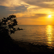 Colorful tropical sunset over Biscayne Bay on Elliott Key, Biscayne National Park, Miami, FL.