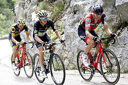 July 8, 2017 - Station Des Rousses, FRANCE - French Lilian Calmejane of Direct Energie, Belgian Serge Pauwels of Dimension Data and Irish Nicolas Roche of BMC Racing Team pictured in action during the eighth stage of the 104th edition of the Tour de France cycling race, 187,5km from Dole to Station des Rousses, France, Saturday 08 July 2017. This year's Tour de France takes place from July first to July 23rd. BELGA PHOTO YUZURU SUNADA (Credit Image: © Yuzuru Sunada/Belga via ZUMA Press)