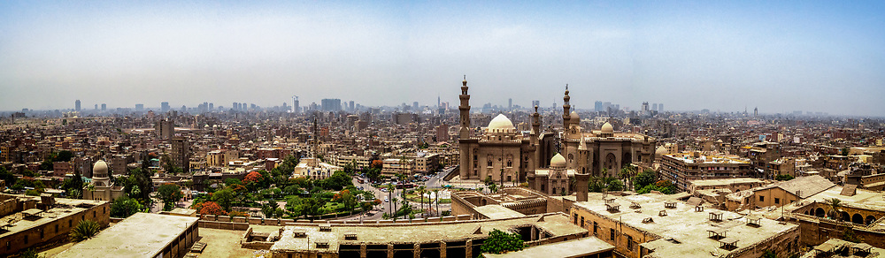 Panoramic view of the city of Cairo from the Saladin Citadel of Cairo a medieval Islamic fortification in Cairo located on Mokattam hill near the center of Cairo,