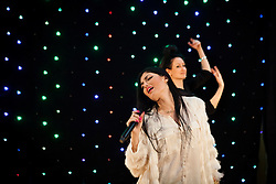 © Licensed to London News Pictures. 19/03/2014. ERBIL,  Kurdish singer Helen Abdulla - better known as Helly Luv - has suffered death threats from Islamic groups in Iraqi Kurdistan for her provocative, revolution-tinged music videos. Picture shows: Kurdish pop singer Helly Luv (Hillan Abdullah) during rehearsals before her performance in the Iraqi Kurdish city of Erbil. Photo credit : Jacob Russell/LNP