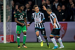 (L-R) Reuven Niemeijer of Heracles Almelo, Brahim Darri of Heracles Almelo  2-3 during the Dutch Eredivisie match between Heracles Almelo and Feyenoord Rotterdam at Polman stadium on September 09, 2017 in Almelo, The Netherlands