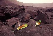 Gin bottle offering to Pele, Halemaumau, Kilauea Volcano, Island of Hawaii<br />