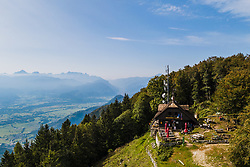 Aerial view of Dobrca Mountain Hut on September 19, 2020 in Trzic, Slovenia. Photo by Matic Klansek Velej / Sportida