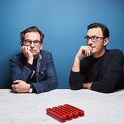 Paris, France. November 4, 2016. Screenwriters Matthieu Delaporte and Alexandre de La Patellière in their office, in Paris. Photo: Antoine Doyen