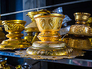 14 JANUARY 2016 - CHACHOENGSAO, CHACHOENGSAO, THAILAND: Alms bowls used in merit making ceremonies at Wat Sothon. Wat Sothon, in Chachoengsao, is one of the largest Buddhist temples in Thailand. Thousands of people come to the temple every day to pray for good luck, they make merit by donating cooked eggs and cash to the temple. The temple dates from the Ayutthaya period (circa 18th century CE).        PHOTO BY JACK KURTZ