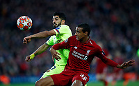Football - 2018 / 2019 UEFA Champions League - Semi-Final, Second Leg: Liverpool (0) vs. Barcelona (3)<br /> <br /> Trent Alexander-Arnold of Liverpool and Luis Suarez of Barcelona  at Anfield.<br /> <br /> COLORSPORT/LYNNE CAMERON