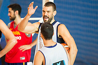 Marc Gasol and Juan Carlos Navarro during the Spain training session before EuroBasket 2017 in Madrid. August 02, 2017. (ALTERPHOTOS/Borja B.Hojas)