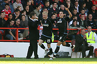 Photo: Pete Lorence.<br />Nottingham Forest v Scunthorpe United. Coca Cola League 1. 07/10/2006.<br />Scunthorpe's Andy Keogh celebrates scoring the second goal of the match with Billy Sharp.