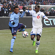 NEW YORK, NEW YORK - March 18: Jonathan Lewis #17 of New York City FC and Ambroise Oyongo #2 of Montreal Impact challenge for the ball during the New York City FC Vs Montreal Impact regular season MLS game at Yankee Stadium on March 18, 2017 in New York City. (Photo by Tim Clayton/Corbis via Getty Images)