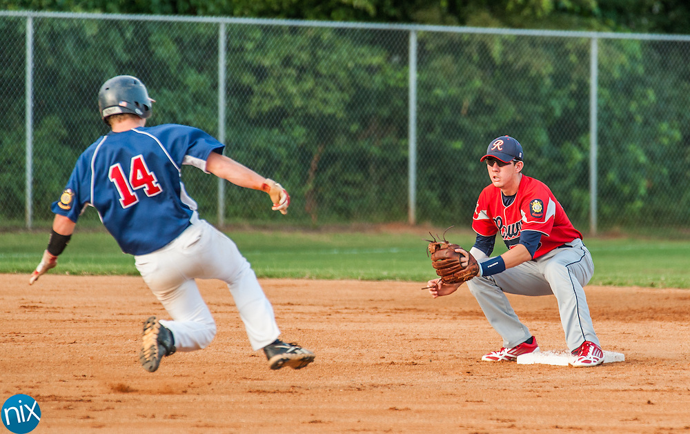 Concord Post 51 against Rowan County Tuesday night at Central Cabarrus High School. Concord won the game 7-6 in the second game of a best-of-five game playoff series.