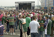 Reading, Berkshire, 21st September 2003, Zurich Premiership Rugby  London Irish v Gloucester Rugby,  Madejski Stadium, <br /> [Mandatory Credit; Peter Spurrier/Intersport Images]Zurich Premiership Rugby - London Irish v Gloucester<br /> Pre game entertainment at the front of the stadium. , Spectators gather outside the stadium, prior to the game,
