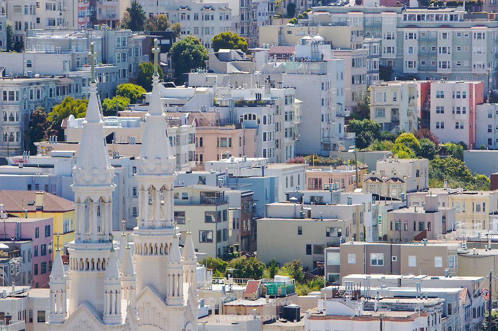 Dense neighborhoods on Russian Hill in San Francisco, California.