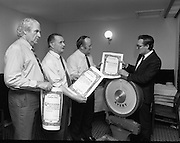 Dail Eireann Members Weigh In..1985..19.12.1985..12.19.1985..19th December 1985..As part of a Bord Iascaigh Mhara healthy eating campaign,several sitting members of Dail Eireann took part. Under the watchful eye of the Minister For Fisheries,Mr Paddy O'Toole TD the final weigh in was undertaken...The Minister for Fisheries, Mr Paddy O'Toole, awards certificates of achievement to the participants in The Bord Iascaigh Mhara,sponsored,healthy eating campaign..(L-R) Mr John Wilson TD,Fianna Fail,Senator Jackie Daly,Fine Gael, the winner with a weight loss of 2 stone 2 pounds (13.6Kgs) Mr P.J.Sheehan,Fine Gael.