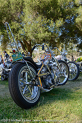 Invited builder Atomic Trent Schara's custom Harley-Davidson Shovelhead on day two of the Born Free Vintage Chopper and Classic Motorcycle Show at the Oak Canyon Ranch in Silverado, CA. USA. Sunday, June 29, 2014.  Photography ©2014 Michael Lichter.