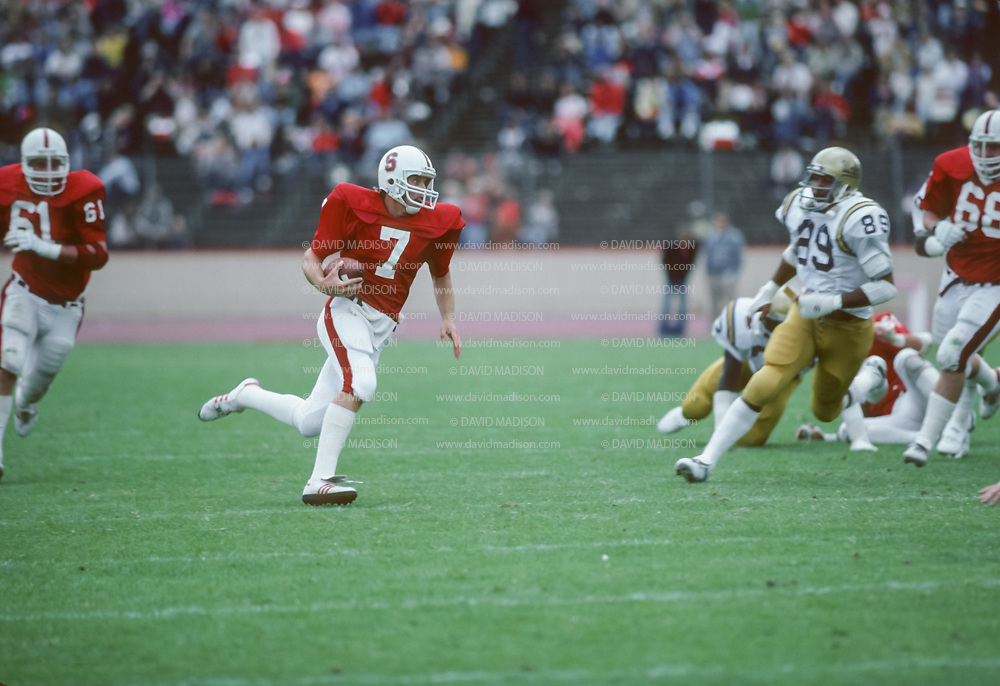PALO ALTO, CA - OCTOBER 1981:  Quarterback John Elway of Stanford University plays in an NCAA football game against UCLA  on October 10, 1981 at Stanford Stadium in Palo Alto, California.  Photo by David Madison | www.davidmadison.com