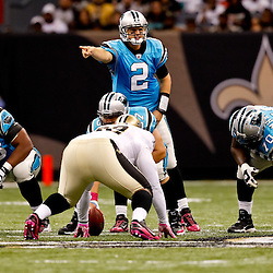 October 3, 2010; New Orleans, LA, USA; Carolina Panthers quarterback Jimmy Clausen (2) calls a play at the line during a game against the New Orleans Saints at the Louisiana Superdome. The Saints defeated the Panthers 16-14. Mandatory Credit: Derick E. Hingle