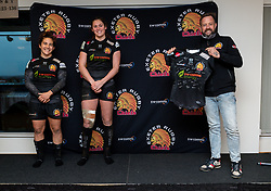 Exeter Chiefs Women head coach Susie Appleby, Linde Van der Velden of Exeter Chiefs Women and Patricia Garcia of Exeter Chiefs Women present a signed shirt to sponsors Ladys Mile - Mandatory by-line: Ryan Hiscott/JMP - 19/12/2020 - RUGBY - Sandy Park - Exeter, England - Exeter Chiefs Women v Sale Sharks Women - Allianz Premier 15s