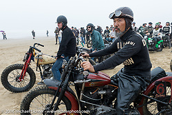 Atsushi Yasui on his Harley at TROG West - The Race of Gentlemen. Pismo Beach, CA, USA. Saturday October 15, 2016. Photography ©2016 Michael Lichter.