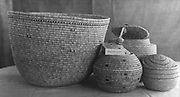Group of Native American Indian baskets, some with lids. Twentieth century 20th century
