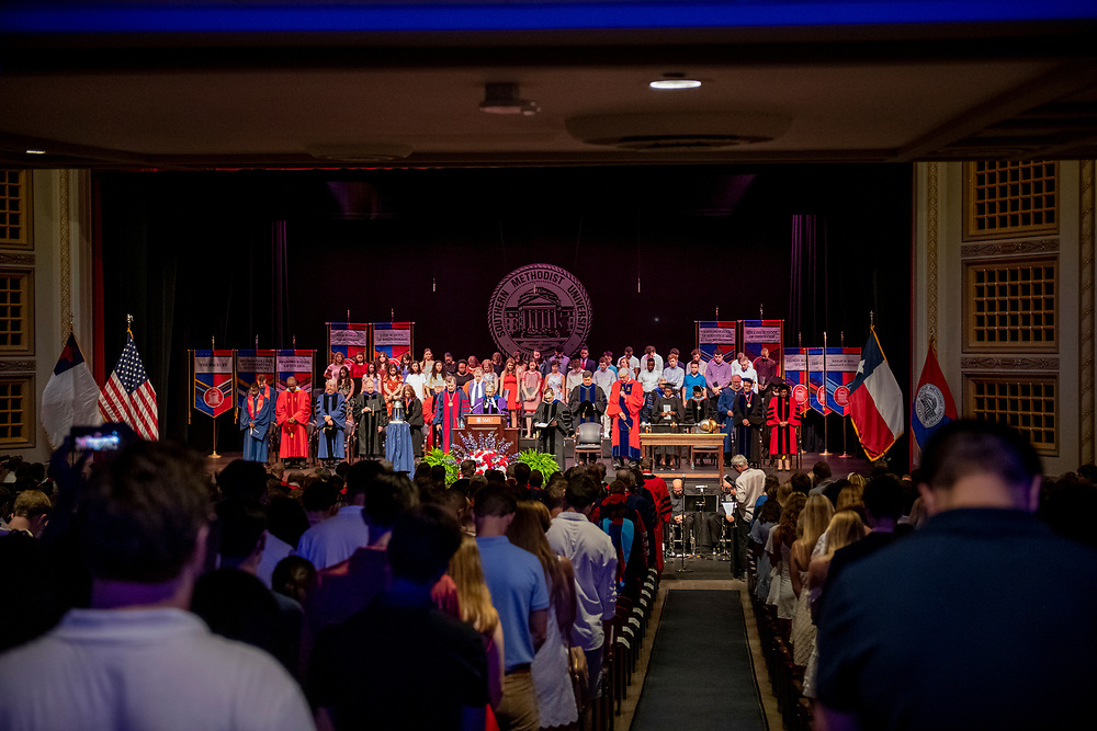 First year students alongside alumni, faculty and family, participate in Rotunda Passage and Convocation during Stampede, Sunday, August 25, 2019 on the SMU Campus