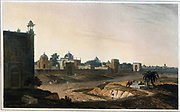 View at Delhi, near the Mausoleum of the Emperor Humaioon, 1801 From the book ' Oriental scenery: one hundred and fifty views of the architecture, antiquities and landscape scenery of Hindoostan ' by Thomas Daniell, and William Daniell, Published in London by the Authors May 1, 1813