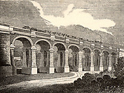The Wharncliffe Viaduct, Hanwell, Middlesex, 1838. This viaduct of eight elliptical arches, designed by Sambaed Kingdom Brunel (1806-1859), carries the Great Western Railway between two embankments at Hanwell, some 8 miles from central London.  It is named for Lord Wharncliffe (1776-1845) who guided the Great Western Railway Bill through the House of Lords. From 'The Mirror'. (London, 1 December 1838)