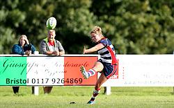 Amber Reed (c) of Bristol Ladies kicks a conversion - Mandatory by-line: Robbie Stephenson/JMP - 18/09/2016 - RUGBY - Cleve RFC - Bristol, England - Bristol Ladies Rugby v Aylesford Bulls Ladies - RFU Women's Premiership