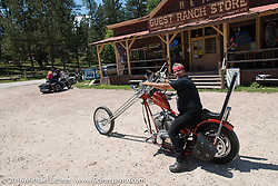 Stop at the Nemo Guest Ranch on the Annual Cycle Source and Michael Lichter Rides (combined this year) left from the new Broken Spoke area of the Iron Horse Saloon during the Sturgis Black Hills Motorcycle Rally. SD, USA.  Wednesday, August 10, 2016.  Photography ©2016 Michael Lichter.