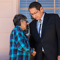 Marybeth Sage, a supporter of Presidential candidate Jonathan Nez greets him with a prayer after the hearing was ruled in his favor, Wednesday, Sept. 26, 2018 in Window Rock at the Office of Hearing and Appeals.
