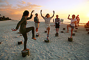 Work out at the beach at sunset in Naples, Florida, USA. MODEL RELEASED.